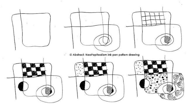 Aбстрактный рисунок чернильной ручкой в стиле НеоПопРеализм, 3, 4, 5, 6  класс
